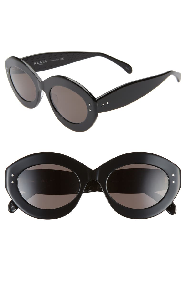 ALAÏA 52mm Oval Sunglasses, Main, color, BLACK