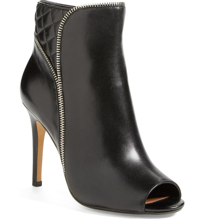 HALOGEN<SUP>®</SUP> 'Claudia' Zipper Trim Leather Bootie, Main, color, 001
