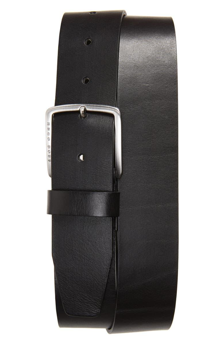 BOSS Sjeeko Leather Belt, Main, color, BLACK