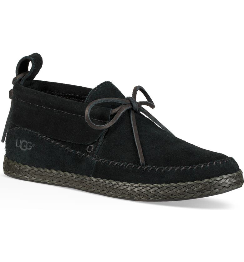 UGG<SUP>®</SUP> Woodlyn Moc Toe Bootie, Main, color, BLACK LEATHER