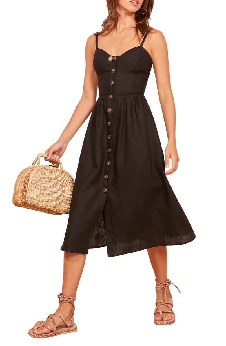 REFORMATION Thelma Linen Midi Dress, Main, color, 001