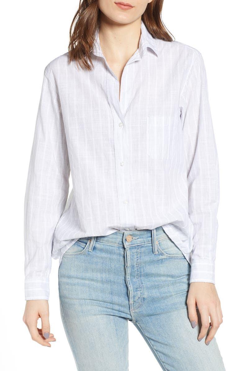 GRAYSON The Hero Washed Cotton Shirt, Main, color, DOLORES GRAY AND WHITE STRIPE