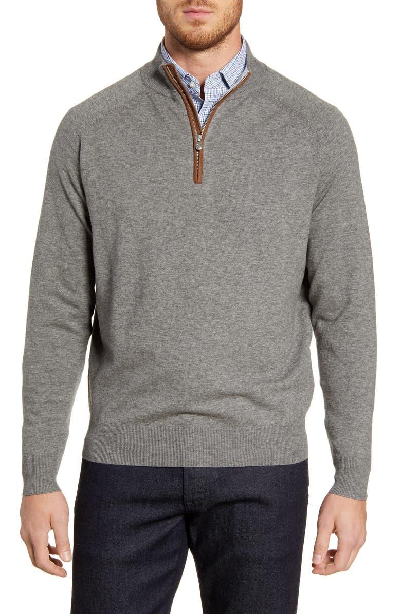 PETER MILLAR Sonoma Quarter Zip Merino Wool Blend Pullover, Main, color, CHARCOAL