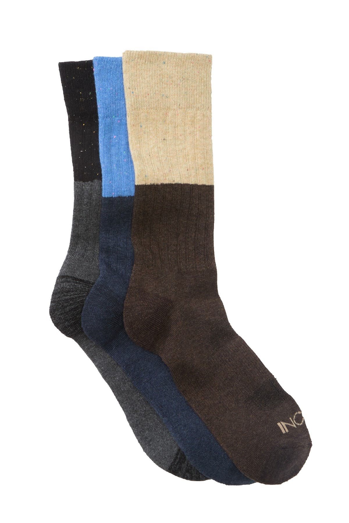 Image of BOCONI Nep Yarn Color Block Crew Socks - Pack of 3
