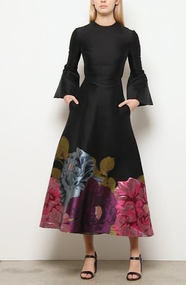 Long Sleeve Metallic Floral Brocade Tea Length Dress, video thumbnail