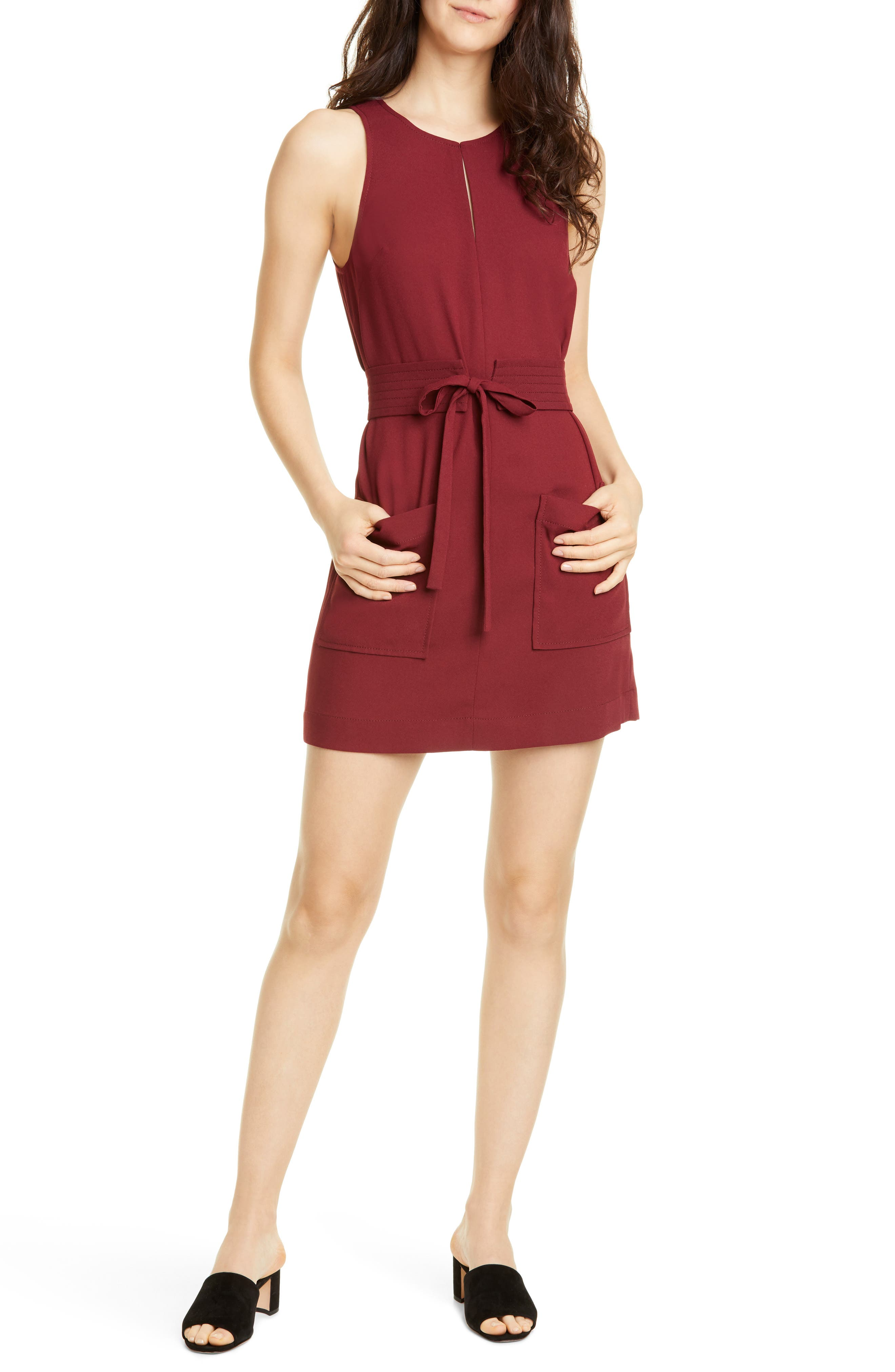 Joie Puck Tie Belt Sleeveless Minidress, Burgundy