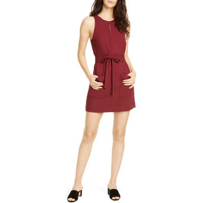 Joie Puck Tie Belt Sleeveless Minidress, Burgundy