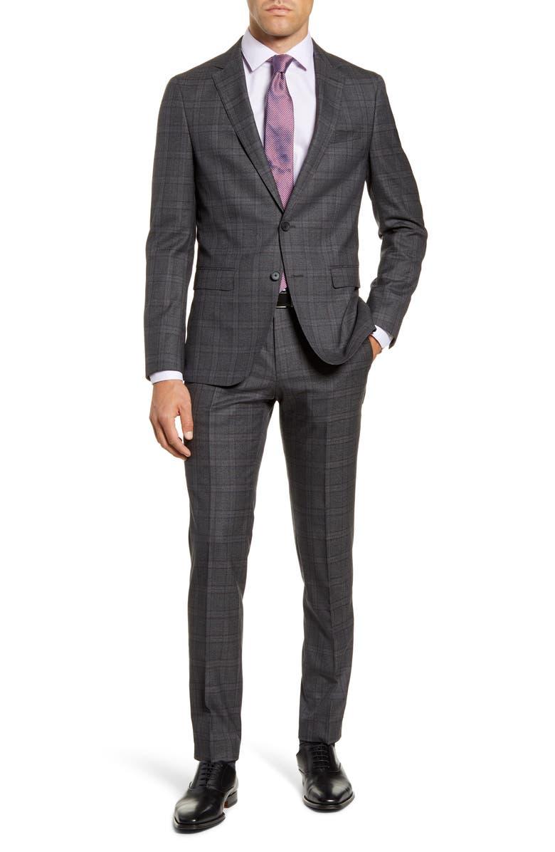 BOSS Nova/Ben Trim Fit Wool Suit, Main, color, GREY