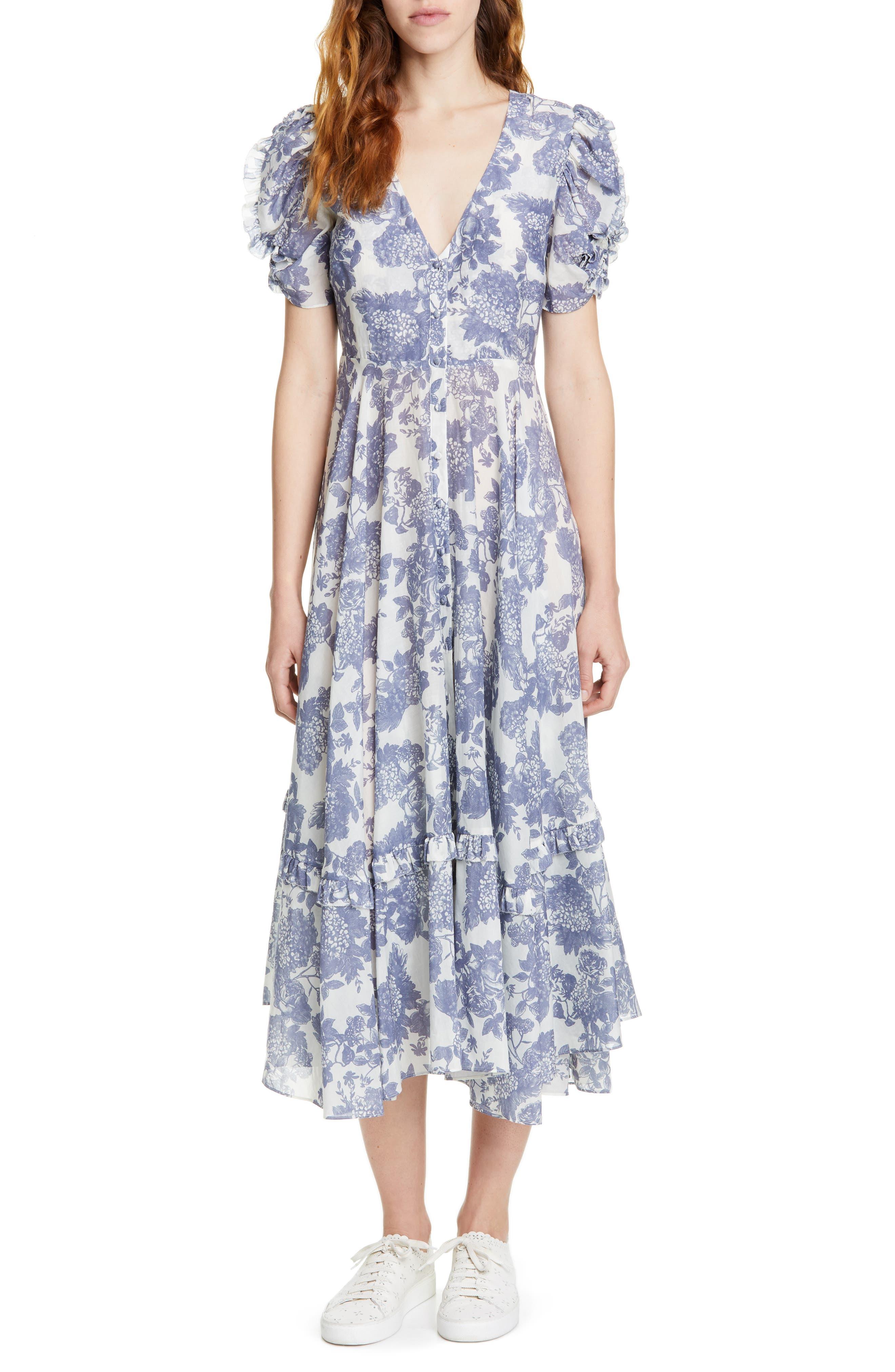 Loveshackfancy Andie Floral Cotton & Silk Midi Dress, Grey