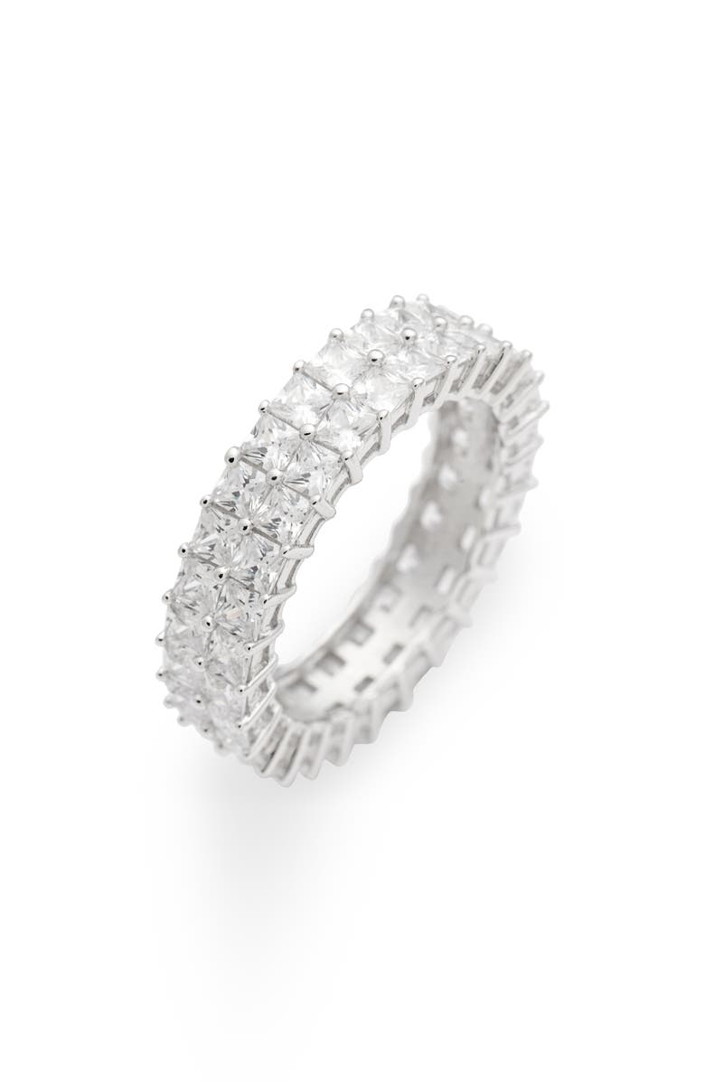 ADINA'S JEWELS Adina's Jewels Double Row Princess Cut Eternity Ring, Main, color, SILVER