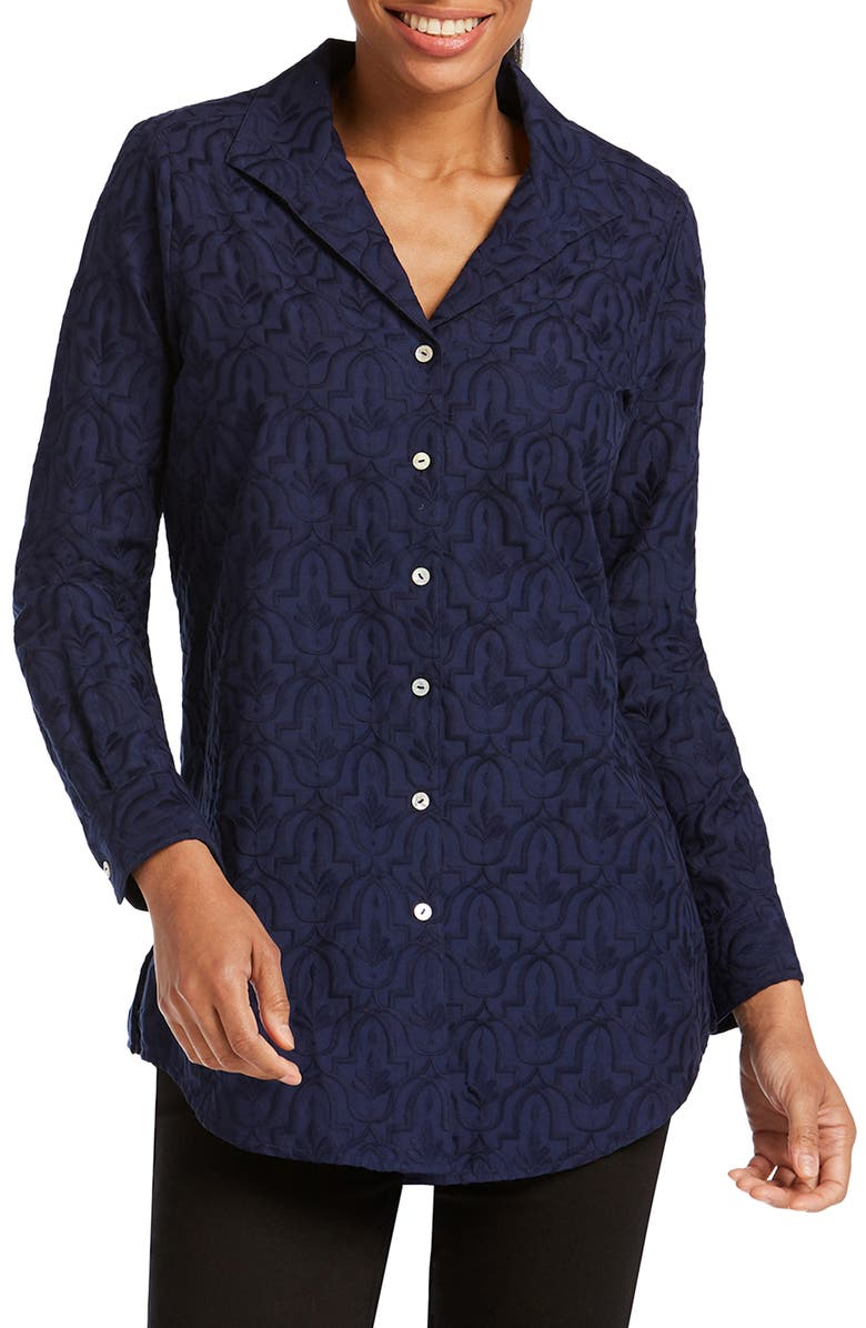 FOXCROFT Ivy Mosaic Embroidery Cotton Tunic Top, Main, color, 410
