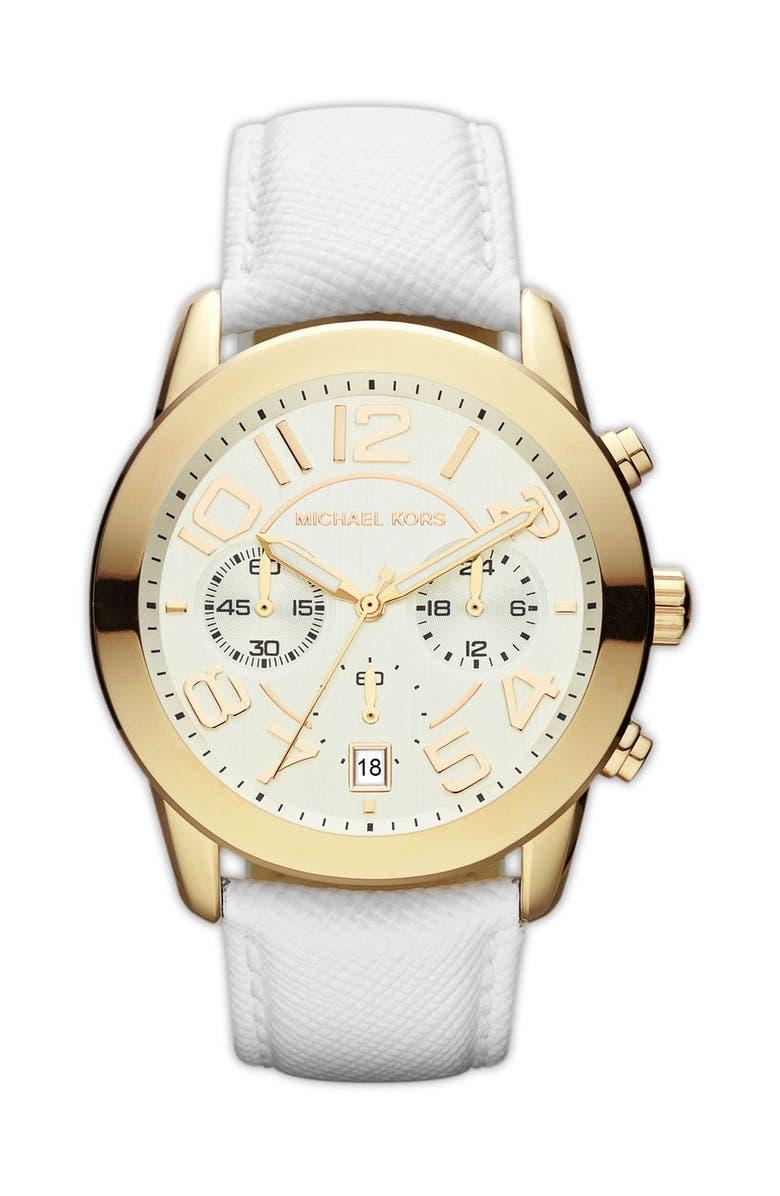 MICHAEL MICHAEL KORS Michael Kors Chronograph Leather Strap Watch, 41mm, Main, color, 100