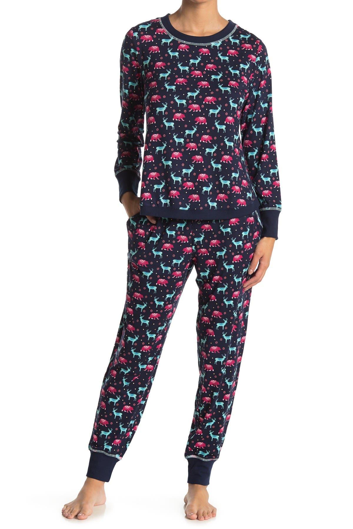 Image of Jane & Bleecker New York Long Sleeve Top & Joggers 2-Piece Pajama Set
