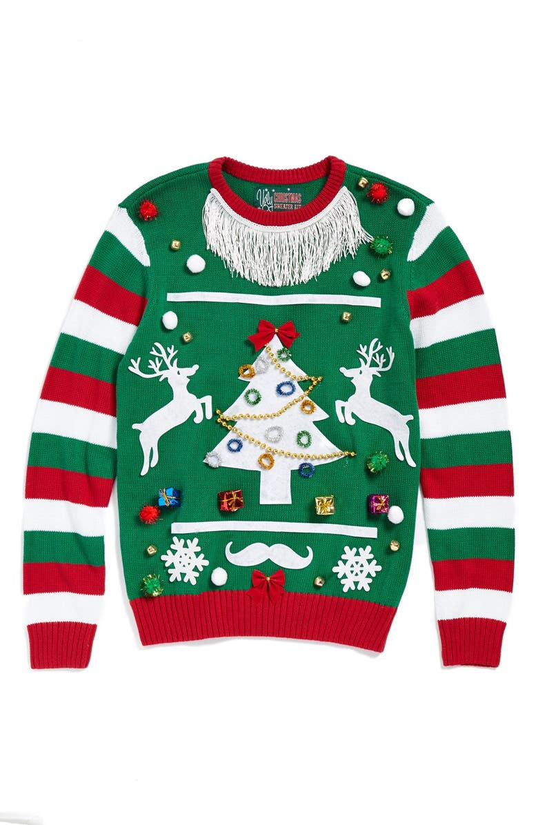 UGLY CHRISTMAS SWEATER 'Make Your Own - Green Stripe' Sweater Kit, Main, color, 307