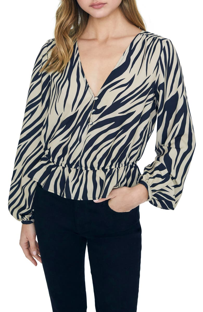 SANCTUARY All Nighter Zebra Print Peplum Long Sleeve Blouse, Main, color, ZEBRA