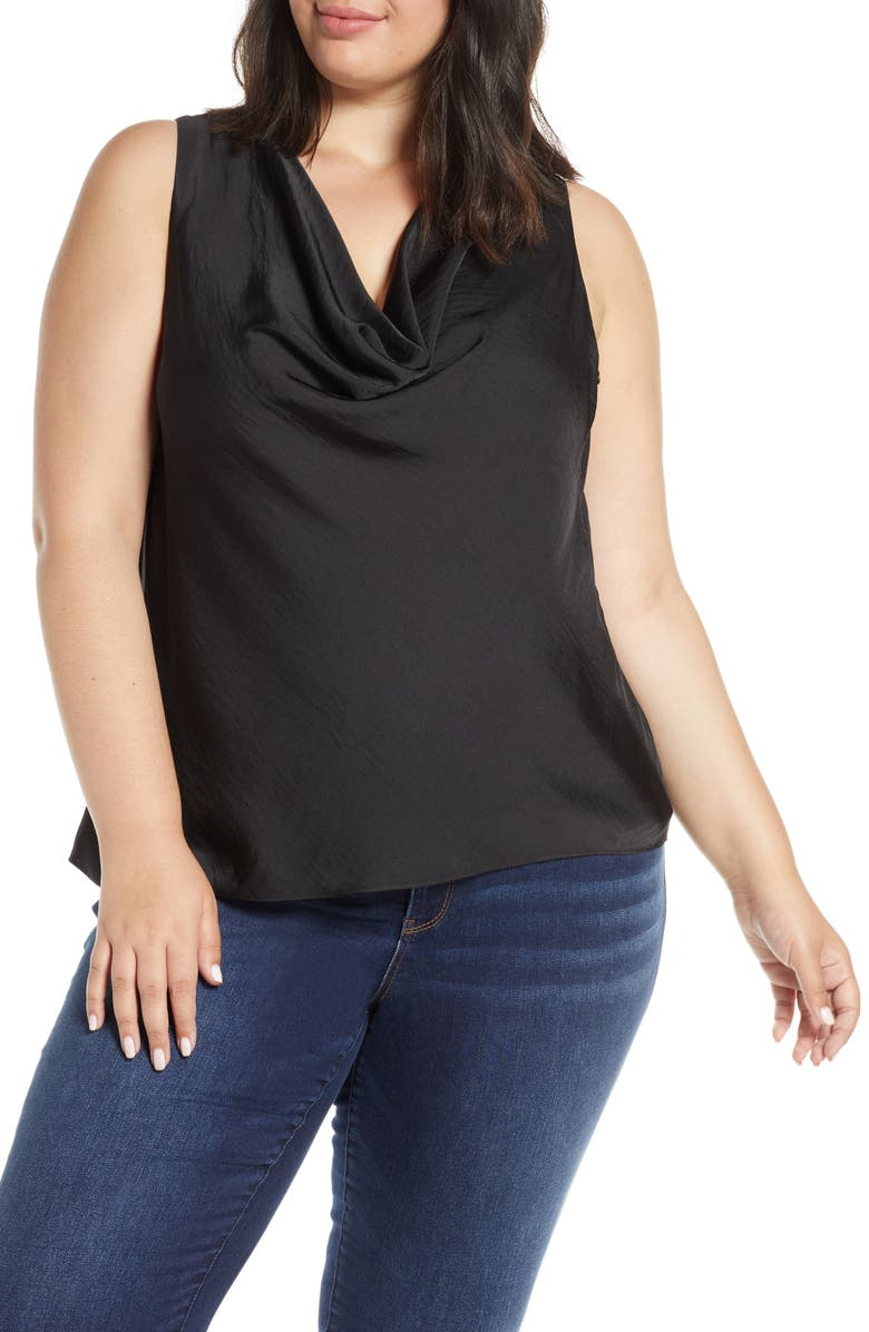 1.STATE Cowl Neck Rumple Satin Sleeveless Blouse, Main, color, 060-RICH BLACK