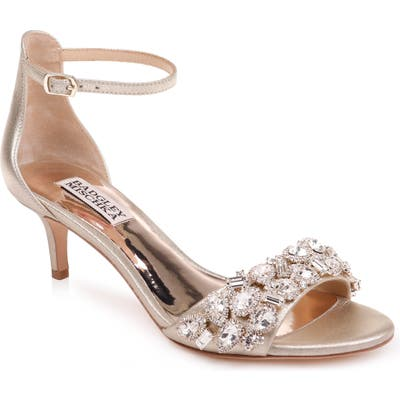 Badgley Mischka Lara Crystal Embellished Sandal, Metallic