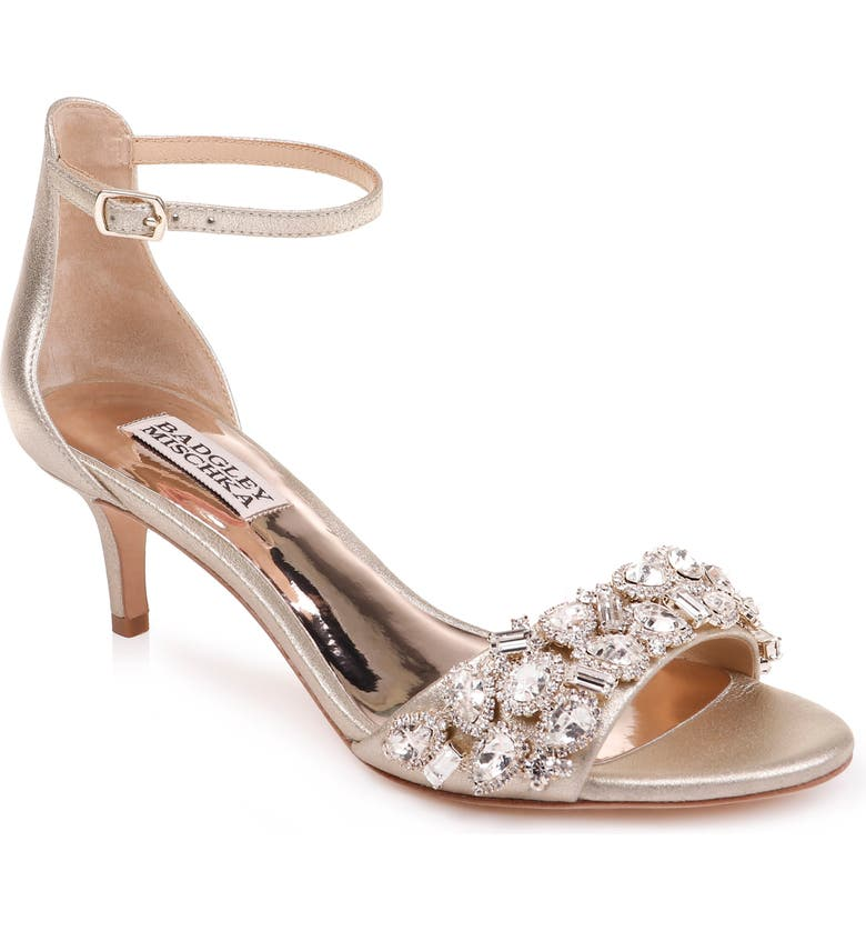 BADGLEY MISCHKA COLLECTION Badgley Mischka Lara Crystal Embellished Sandal, Main, color, PLATINO