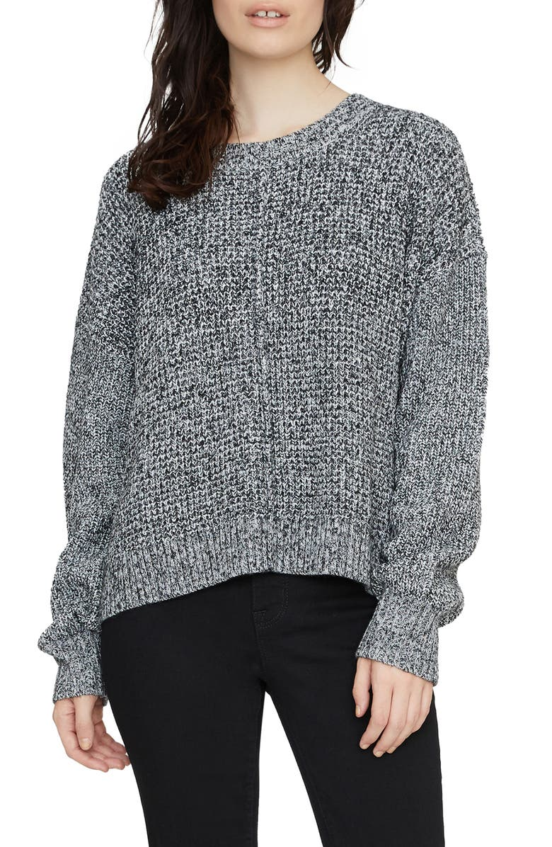 SANCTUARY Sorry Not Sorry Chunky Knit Sweater, Main, color, MARLED BLACK
