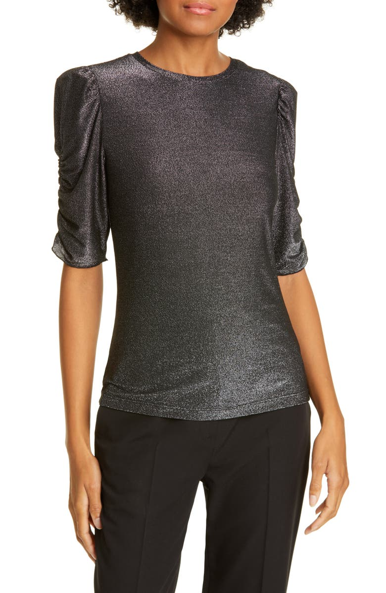 KATE SPADE NEW YORK metallic ruched sleeve jersey knit top, Main, color, 001