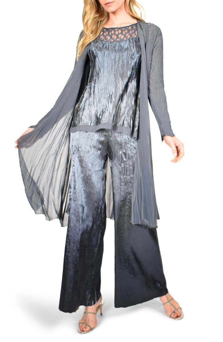 KOMAROV Three-Piece Charmeuse and Chiffon Top, Pants & Jacket Set, Main, color, TRUE STEEL BLUE OMBRE
