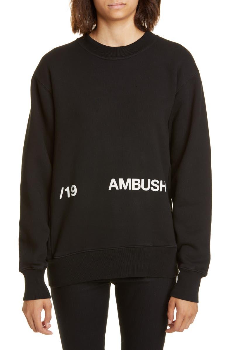 AMBUSH Logo Superhuman Graphic Print Sweatshirt, Main, color, BLACK