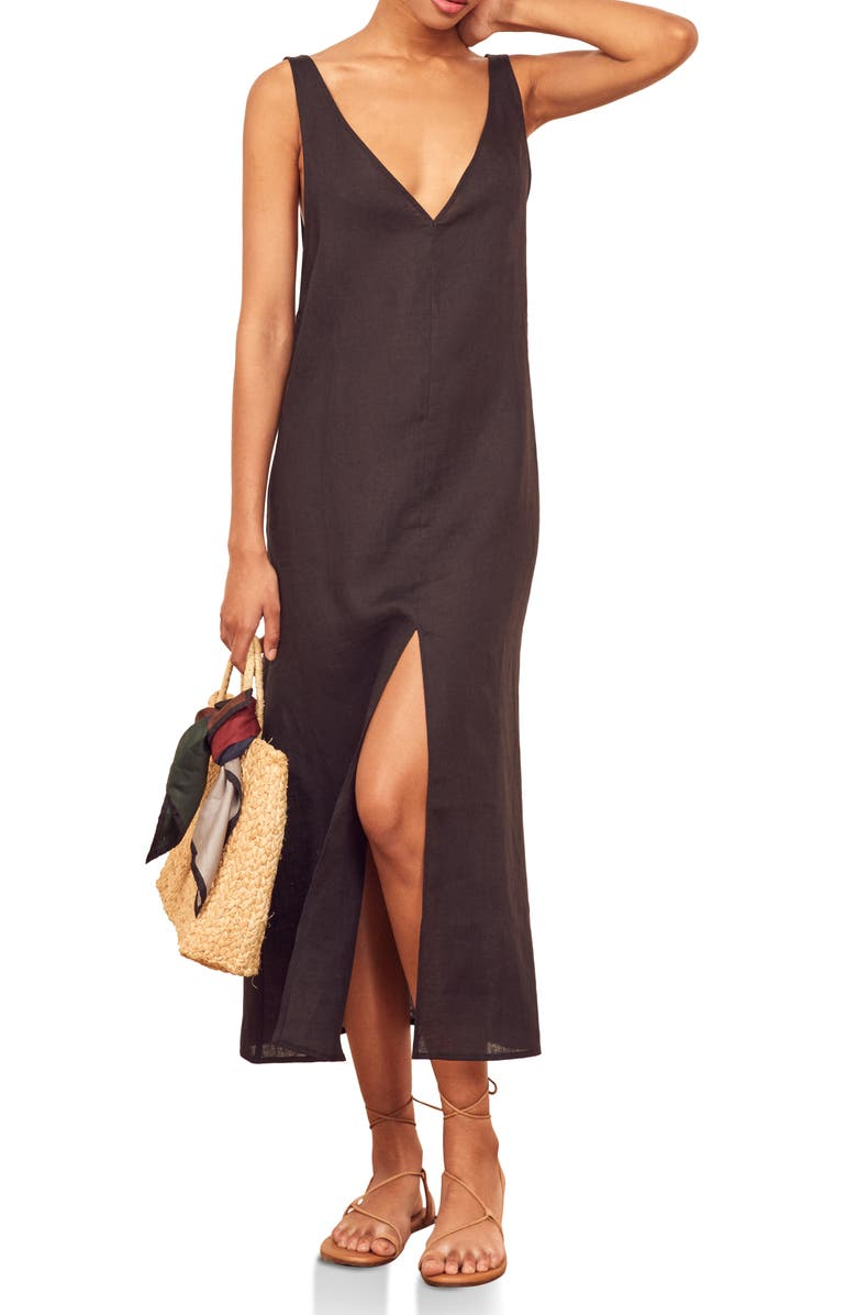 Monique V Neck Linen Midi Dress by Reformation