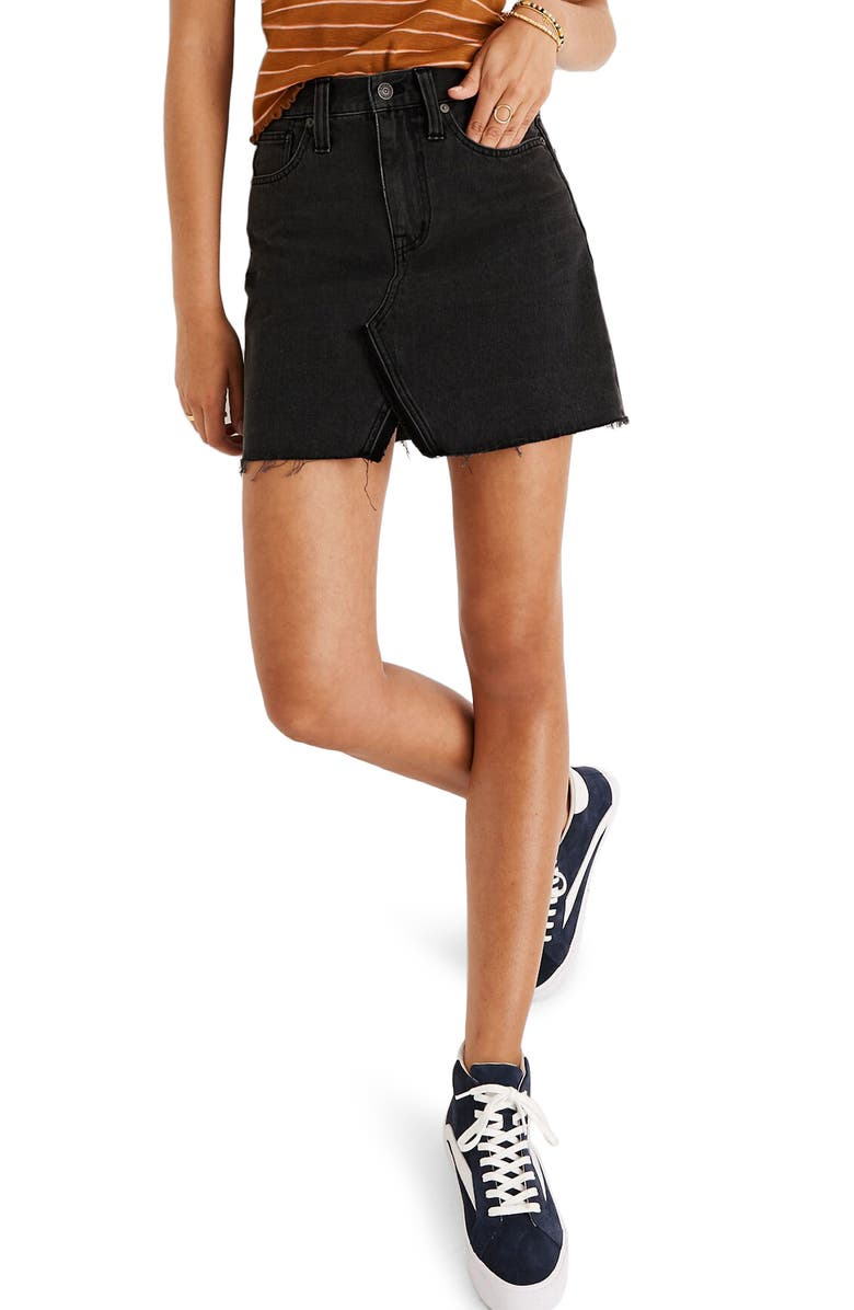 MADEWELL A-Line Rigid Denim Miniskirt, Main, color, 001
