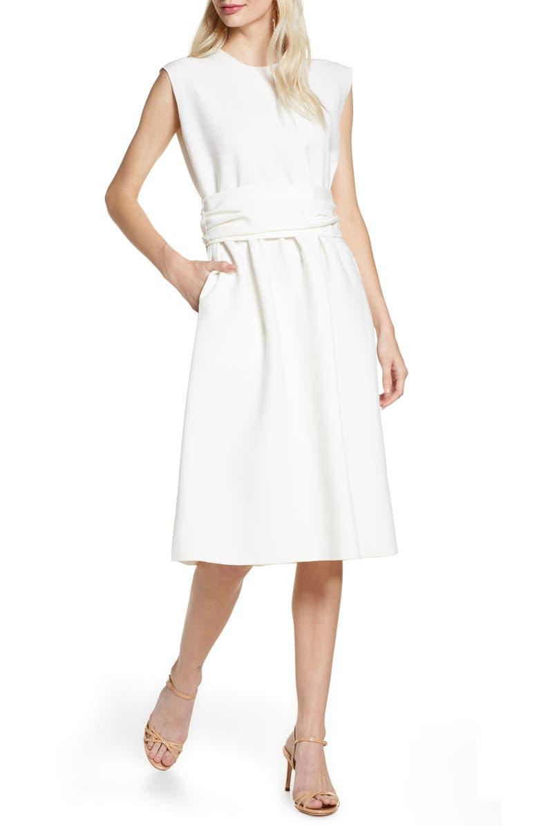 CAARA Muni Belted Shift Dress, Main, color, WHITE