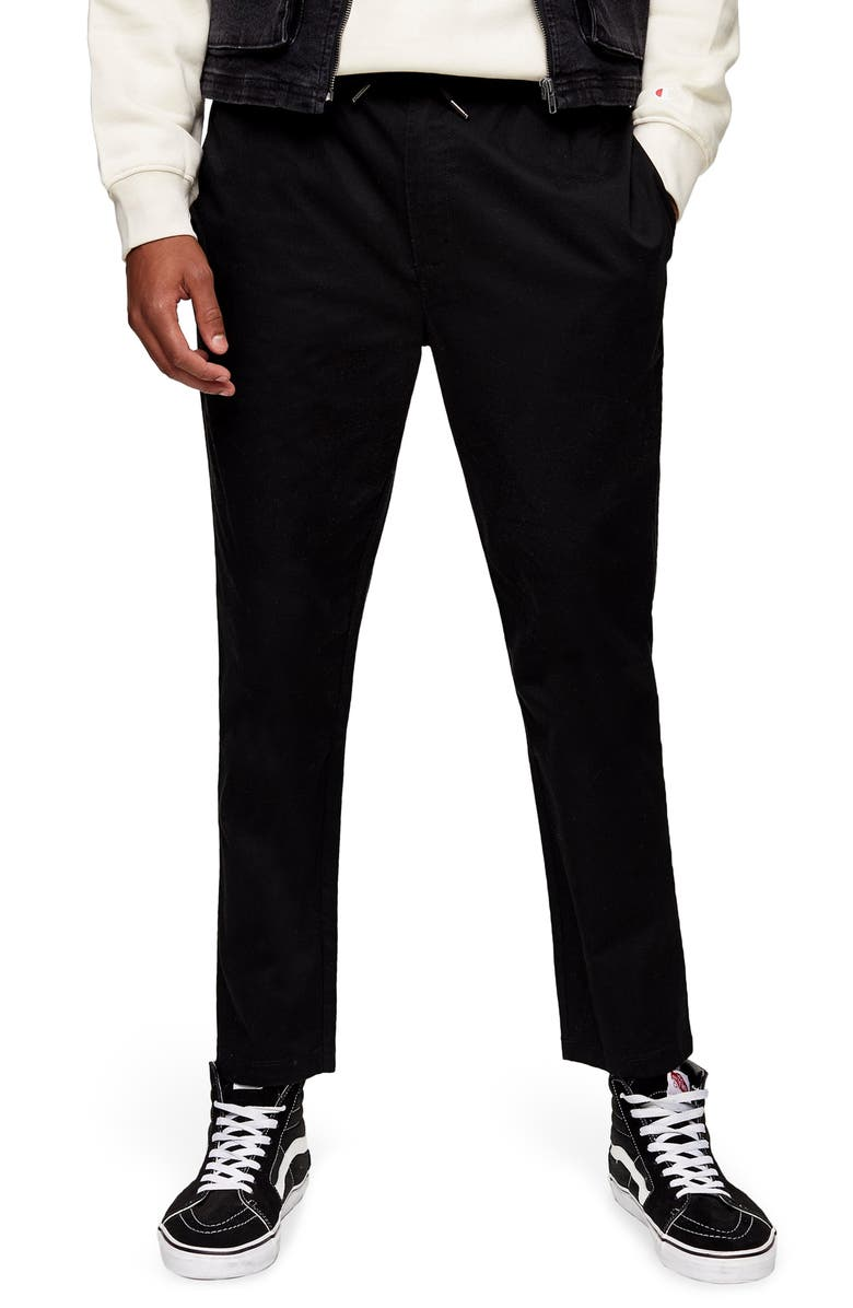 TOPMAN Whyatt Drawstring Waist Pants, Main, color, BLACK