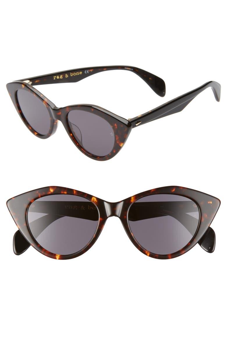 RAG & BONE 49mm Cat Eye Sunglasses, Main, color, DARK HAVANA/ GREY BLUE