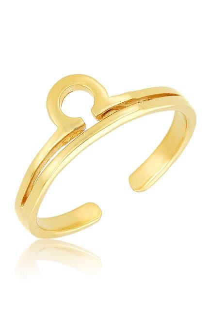 Image of Sterling Forever 14K Gold Vermeil Plated Sterling Silver Adjustable Zodiac Ring - Libra