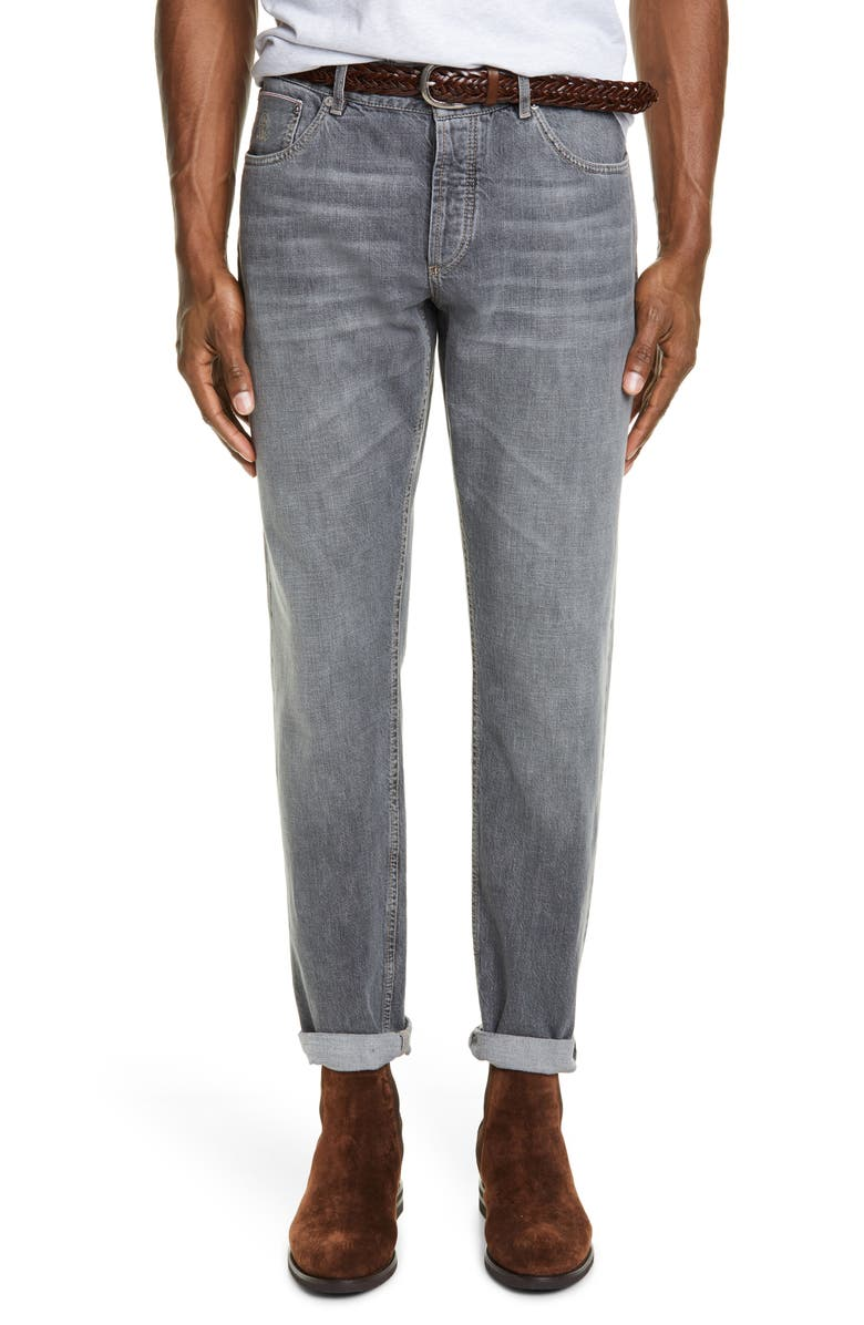 BRUNELLO CUCINELLI Brunello Selvedge Denim Jeans, Main, color, DARK WASH DENIM