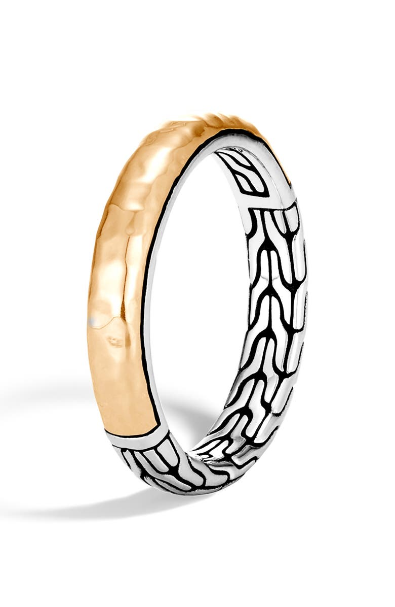 JOHN HARDY Classic Chain Hammered Detail Ring, Main, color, SILVER/ GOLD