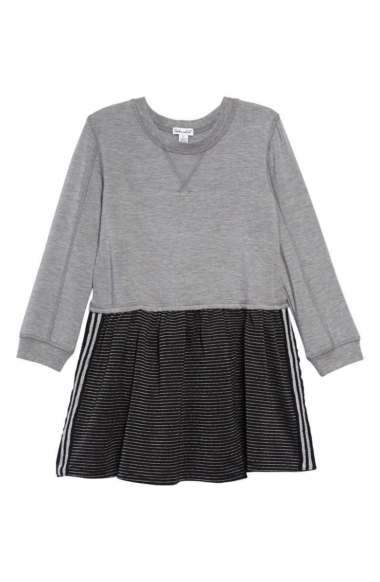 SPLENDID Stripe Jersey Dress, Main, color, LIGHT CHARCOAL HEATHER