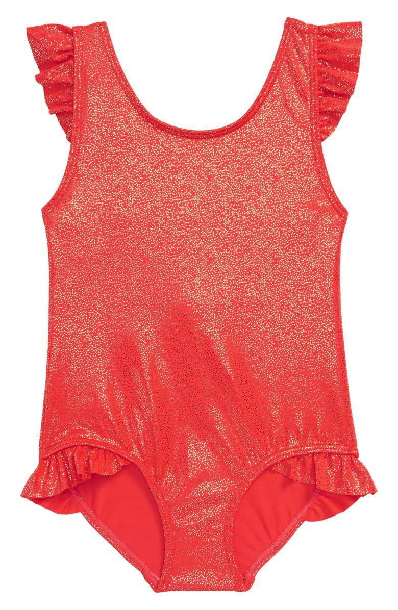 MINI BODEN Foil Frill One-Piece Swimsuit, Main, color, RED SUNSET RED