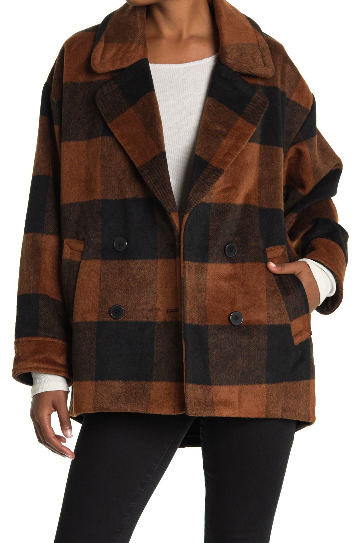 Image of Halogen Buffalo Check Print Double Breasted Pea Coat