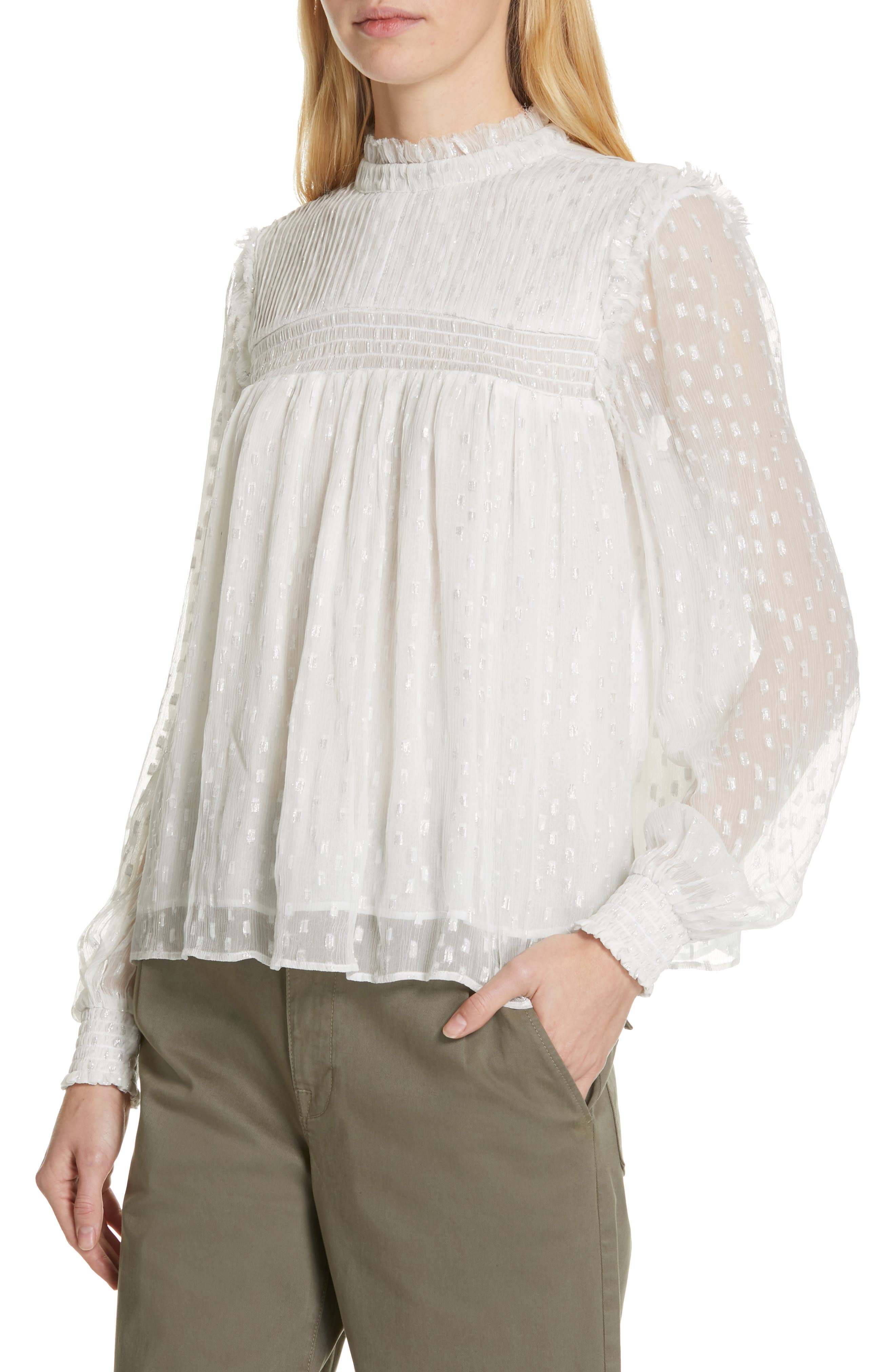 ,                             Smocked Metallic Woven Blouse,                             Alternate thumbnail 4, color,                             OFF WHITE MULTI