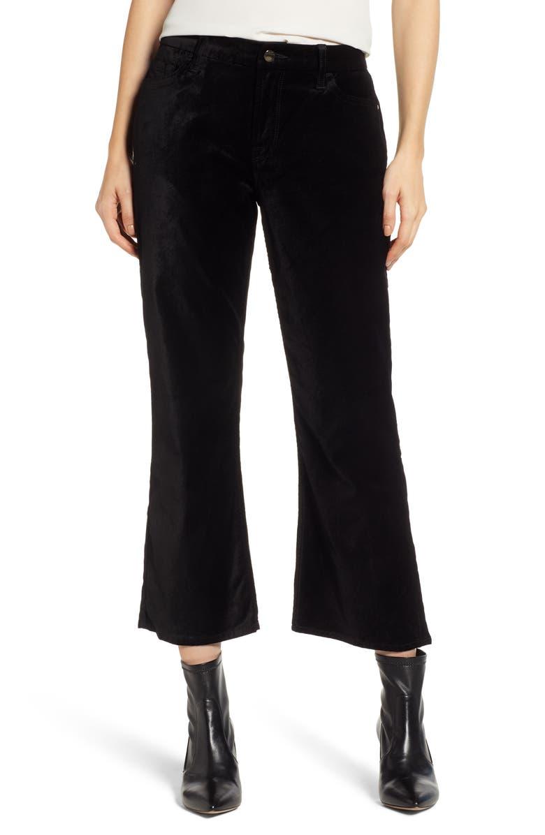 JEN7 BY 7 FOR ALL MANKIND Velvet Crop Flare Pants, Main, color, BLACK