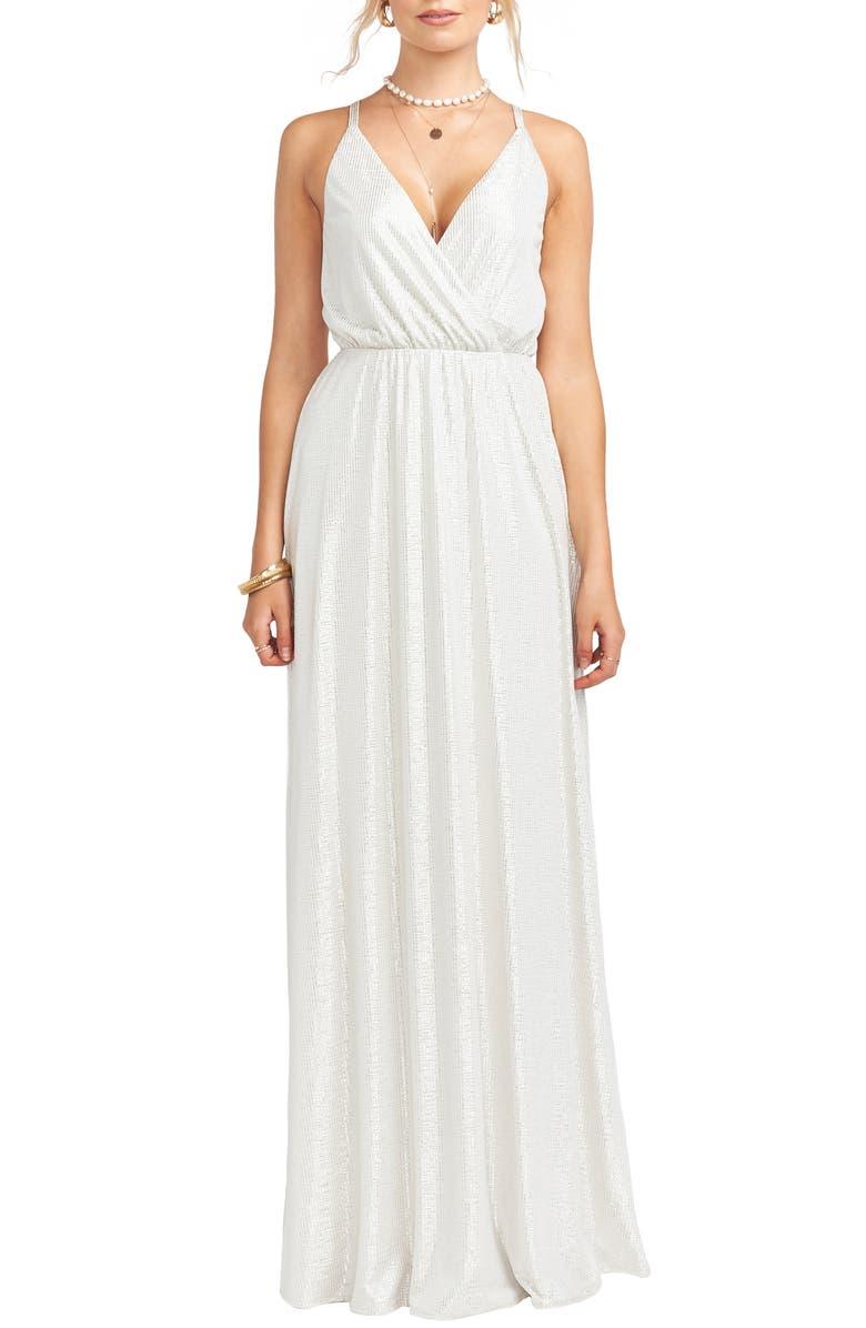 SHOW ME YOUR MUMU Dazzle Metallic Crossover Gown, Main, color, 900
