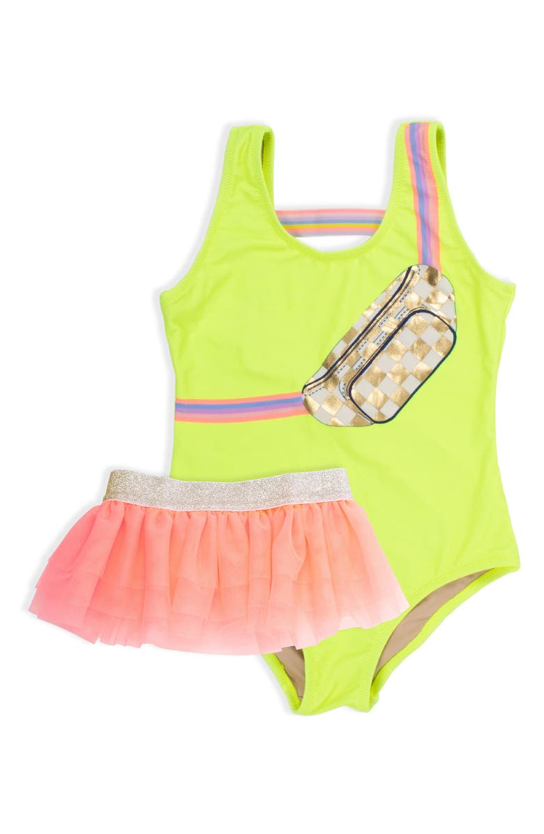 SHADE CRITTERS Citron Fanny Pack One-Piece Swimsuit & Tulle Skirt Set, Main, color, CITRON
