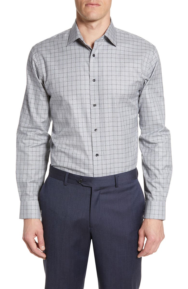 NORDSTROM MEN'S SHOP Traditional Fit Check Dress Shirt, Main, color, BLUE CANAL