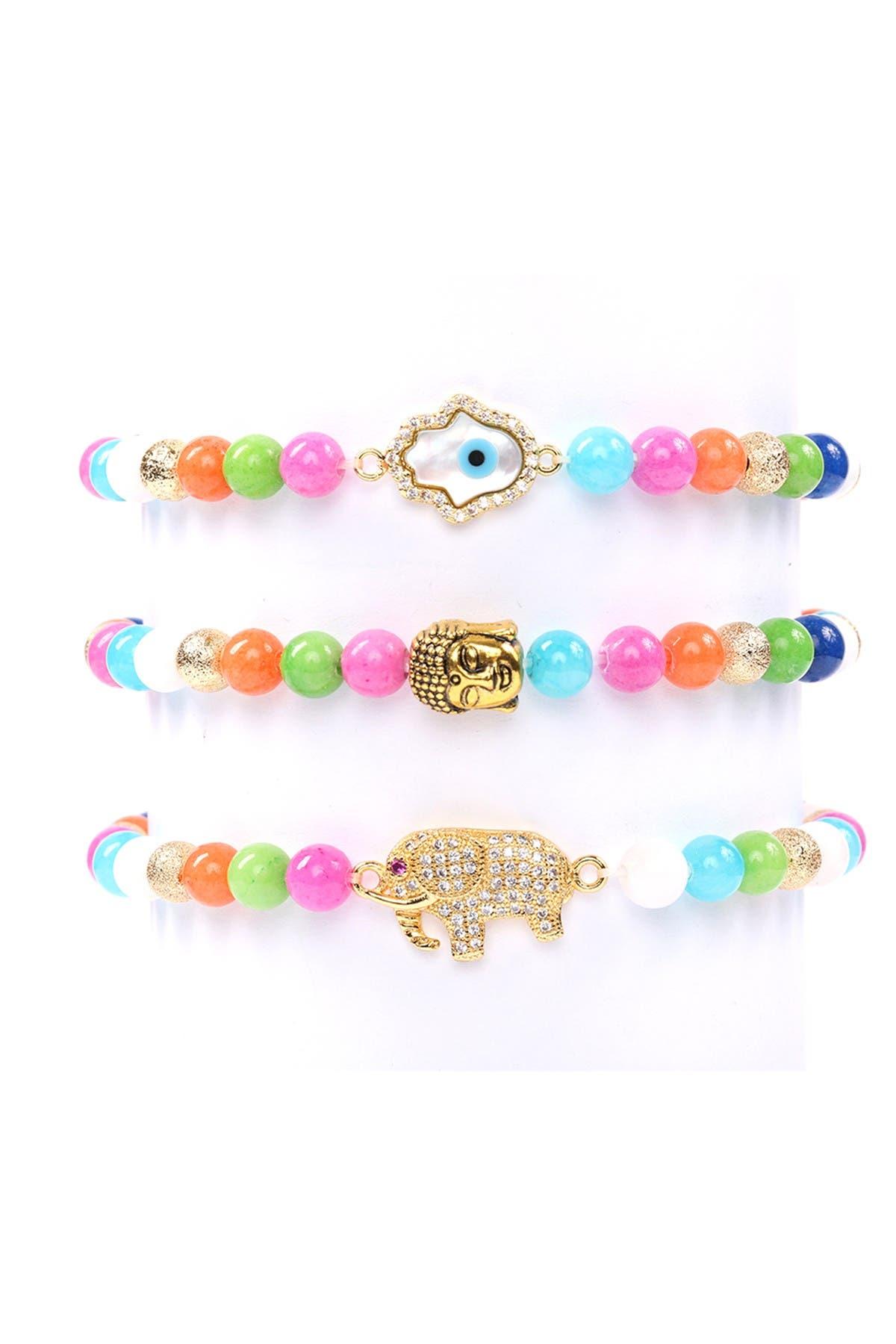 Image of Eye Candy Los Angeles Natural Beaded Rainbow Stone Mixed Charm Beaded Bracelets - Set of 3
