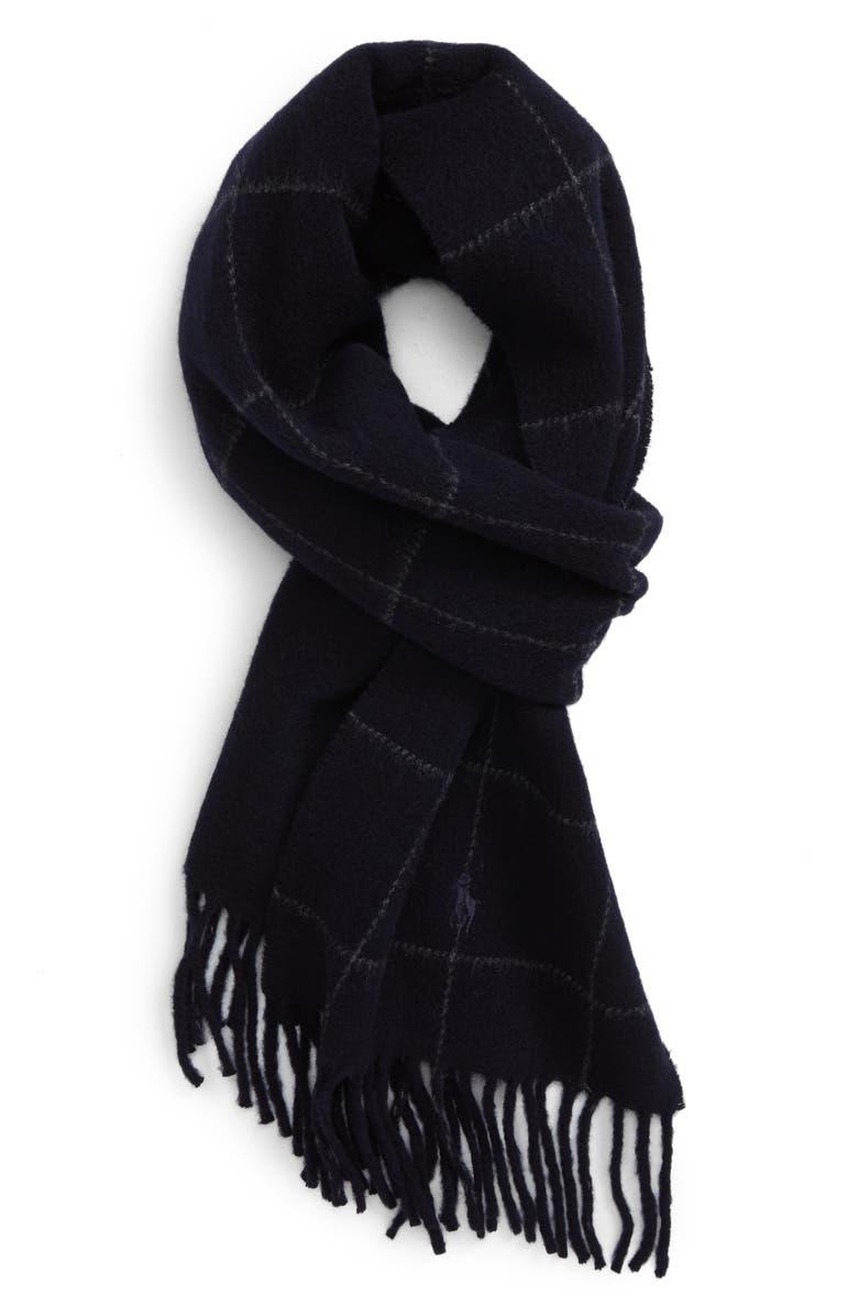 POLO RALPH LAUREN Reversible Wool Blend Scarf, Main, color, AVIATOR NAVY