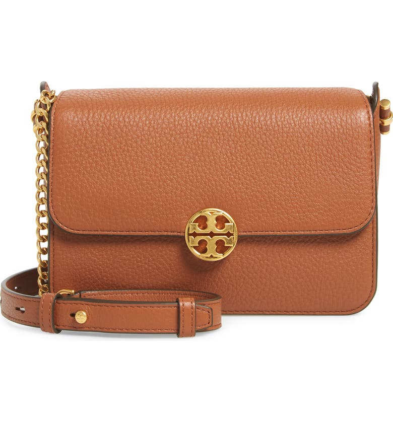 TORY BURCH Chelsea Leather Crossbody Bag, Main, color, CLASSIC TAN