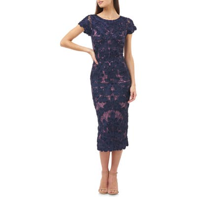 Js Collections Soutache Lace Midi Dress, Blue