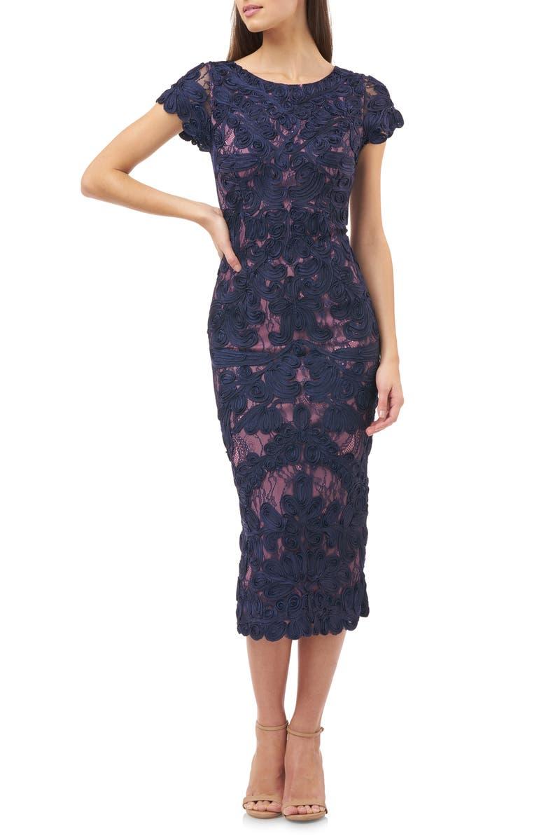 JS COLLECTIONS Soutache Lace Midi Dress, Main, color, NAVY ROSE