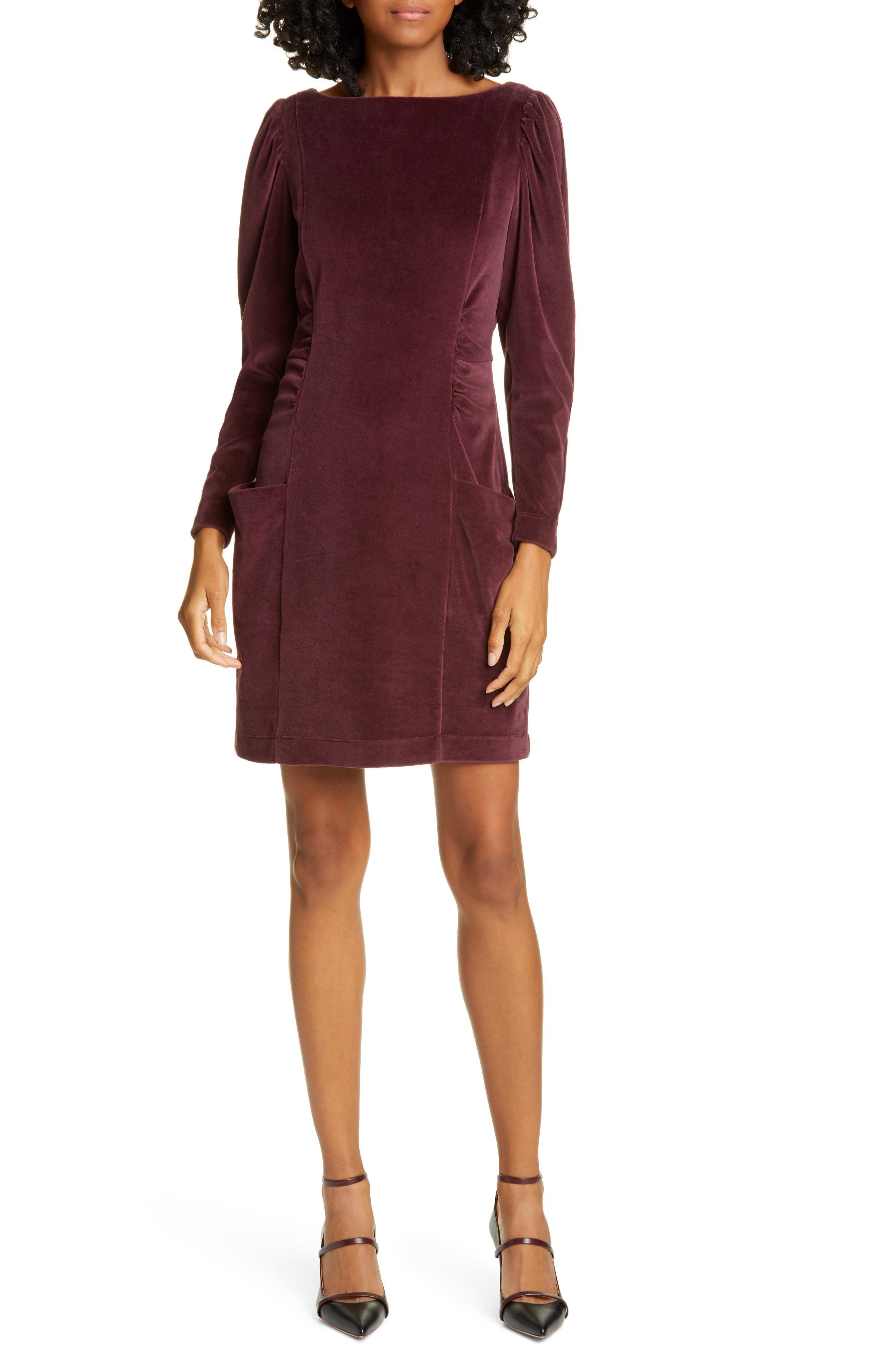 Image of Rebecca Taylor Long Sleeve Velour Dress