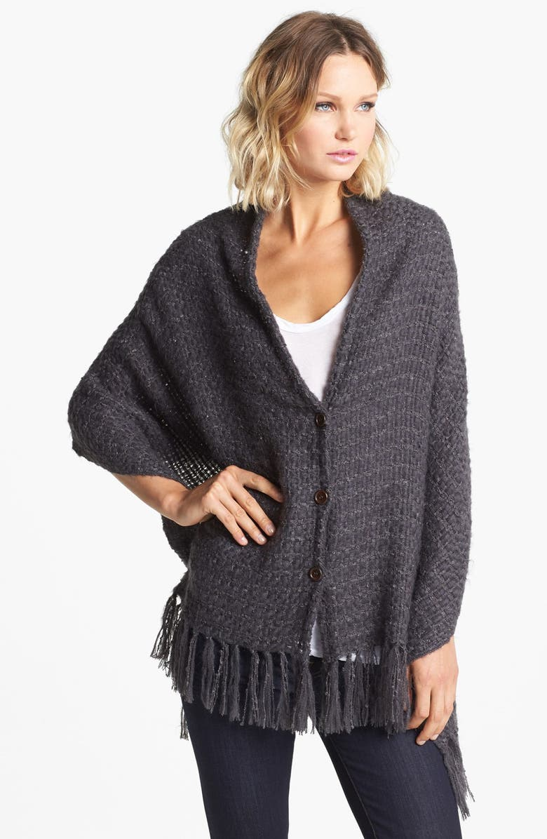 NORDSTROM Fringed Button Front Wrap, Main, color, 020