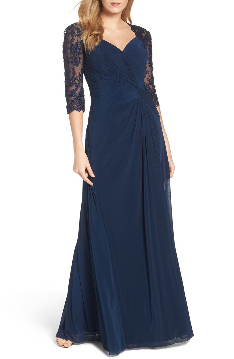 LA FEMME Lace & Net Ruched Twist Front Gown, Main, color, NAVY